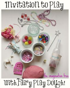 Set up a little invitation to play with fairy sparkle play dough and added materials