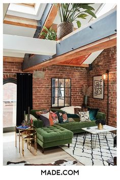#LivingRoomEndTables Brick Interior, Loft Interior Design, Brick Room, Industrial Interior Design, Industrial Apartment, Piece A Vivre, New Homes, Decoration, Loft Style Homes