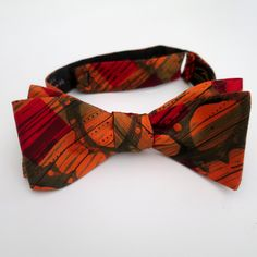 """100% Silk Hand-Painted Hand-Made Men's Self Tie Bow Tie """"High Gear"""" Art to Wear by Murphyties. With a bow tie from artist Gabriele Beyer, individually hand-painted on the finest Charmeuse silk, you add artistic flair to your outfit. Each bow tie is an original. It's luxurious cloth jewelry!."""