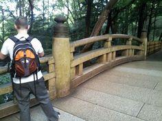Thomas on bridge to shrine