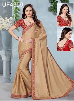 Shop Online Cream Satin Chiffon #CasualSarees @Chennaistore. Bollywood Designer Sarees, Indian Designer Sarees, Latest Designer Sarees, Designer Sarees Collection, Saree Collection, Casual Saree, Party Wear Sarees, Saree Wedding, What To Wear