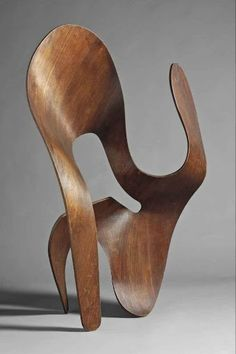 A highly important and unique plywood sculpture by Charles and Ray Eames from 1943. Through this experimental sculpture, the Eames' were able to develop the technology to create 3-dimensional shapes in molded plywood, technology which they utilized for their first major commission: the leg splint for the US Navy.