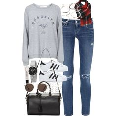 Outfit for travelling by ferned on Polyvore featuring Topshop, Citizens of Humanity, adidas, Yves Saint Laurent, Skagen, Forever 21 and MANGO