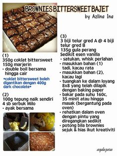 s Bittersweet Bajet Resepi Azlina Ina in 2019 Resepi brownies 2 bahan - Brownie Brownie Toppings, Brownie Recipes, Cookie Recipes, Dessert Recipes, Fudge Brownies, Brownie Cake, Resepi Brownies, Resep Cake, Steamed Cake