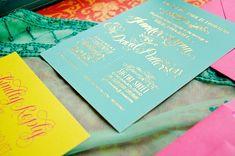 nice color combo: Rebecca + Varun's Lasercut and Gold Foil Wedding Invitations