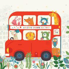 Amazing London Bus Trip Ilustraciones De Animales Ilustracion Animal Ilustraciones Vintage