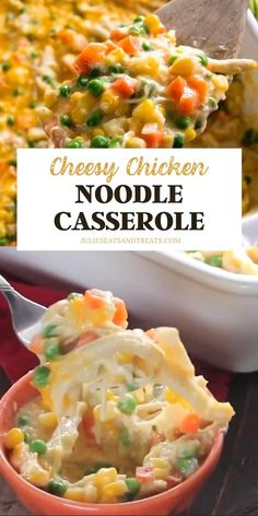 Cheesy Chicken Noodle Casserole is a winner! This hearty and comforting meal will be an instant family favorite loaded with chicken peas carrots corn and egg noodles. The perfect recipe for a quick and easy dinner everyone will love! Pin this for later! Easy Chicken And Noodles, Cheesy Chicken Noodle Casserole, Cheesy Chicken Pasta, Chicken Divan, Dinner Recipes Easy Quick, Healthy Pasta Recipes, Quick Easy Meals, Chicken Noodle Recipes, Easy Casserole Recipes