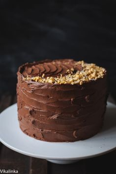 Chocolate Cake with Salted Caramel frosting and honeycomb pieces.