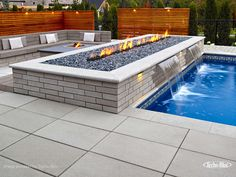 Here's a contemporary fire pit idea. For this landscape project, the Raffinato wall units were used to create a sleek look. Also perfect for beds and borders, edging, and retaining walls. For more landscape ideas, visit our landscape stones at www.techo-bloc.com. #patio #backyard #retainingwalls #landscapesteps #landscapestoneedging