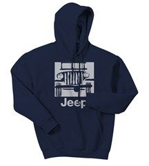 "$40 Jeep Sweatshirt ""Camp Jeep Logo"" Blue Hooded Fleece, Adult"