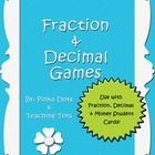 """This game set is designed for use with the """"Fraction Decimal and Money Student Cards"""".   The set includes:   - 4 Half sheet instruction cards w..."""