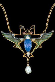 LÉOPOLD ALBERT MARIN GAUTRAIT 1865-1937 Fantastical Art Nouveau winged insect necklace Gold Plique-à-jour enamel Sapphire Diamond Pearl Pendant
