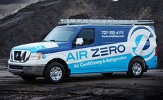 Truck wrap example and identity development for HVAC contractor in Florida.