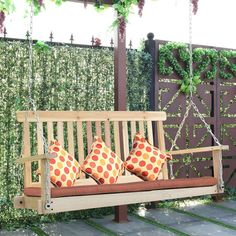 Giantex 4 FT Porch Swing with Chain Natural Wood Garden Swing Seat Patio Hanging Seat Garden Swing Seat, Patio Swing, Garden In The Woods, Outdoor Furniture Sets, Outdoor Decor, Washing Clothes, Natural Wood, Things To Come, Backyard