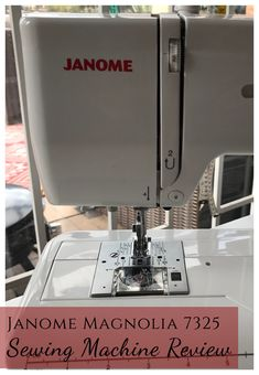 Review of the Janome Magnolia 7325 sewing machine featuring pedal speed control and an automatic buttonhole. Sewing Spaces, Sewing Rooms, Spool Holder, Sewing Machine Reviews, Vintage Sewing Notions, Wooden Spools, Needle Book, Thread Spools, Tatting Patterns