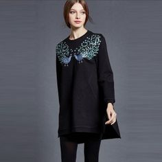 Embroidery Peacock Asymmetric High Low Loose Blouse