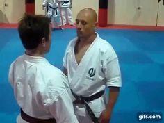 "This drill has an interesting example of the back sacrifice throw te-gaeshi (hand turn-over), which is shown in Konishi Yasuhiro's 1956 book, ""Karate Zukai"" and sometimes taught as a henka-waza of Goju-ryu kata. Fight Techniques, Jiu Jitsu Techniques, Martial Arts Techniques, Self Defense Techniques, Judo Moves, Karate Do, Jiu Jitsu Moves, Okinawan Karate, Goju Ryu"