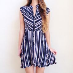   new   striped button up dress offers welcome new with tag navy and light pink striped button up dress. size not indicated but fits like a small. •571088• BB Dakota Dresses Mini