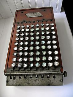 """1896 • EXTREMELY RARE • Felt + Tarrant Company • COMPTOMETER • It is said that there are only 90 of this model known to be in existence today. Two of which are on display at The Smithsonian in Washington D.C. This early wood-cased aka """"Woodie"""" is antique mechanical key-driven calculator that was first patented in 1887."""