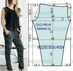 Como me pedem tamanhos grandes hoje vou publicar o molde de calça de linho no tamanho 54 na tabela Portuguesa e 56 na tabela Brasileira.