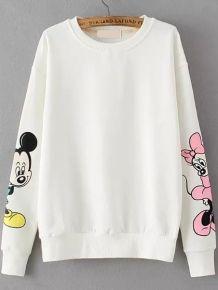 Round Neck Mickey Print White Sweatshirt