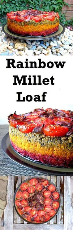 Colourful millet loaf packed with earthy vegetables and protein