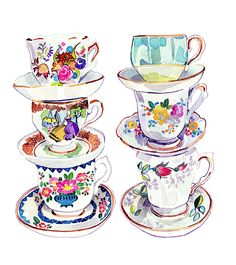 Teacups illustration watercolour