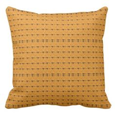 Golden Yellow Patterned Throw Pillow