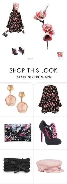 """""""Cheery Blossom Blush on Black 11"""" by diannecollier ❤ liked on Polyvore featuring Pasquale Bruni, Alexander McQueen, Capulet, Monza, Maison Michel, Miss Selfridge and polyvoreeditorial"""