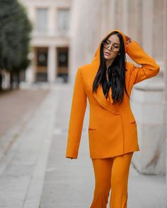 "Tamara Kalinic's Instagram post: ""Another one from my @balmain series shot for Getty Images with @edwardspict"" Orange Suit, Balmain, Blazer, Suits, Instagram Posts, Jackets, Image, Women, Style"