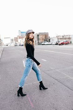 Top| Blouse| Bodysuit| Black| Eyelet| V neck| Plunging neckline| Cleavage| Tucked in| Long sleeve| Jeans| Denim| Faded| Light washed| Shoes| Heels| Boots| Ankle| Booties| Chunky| Close toed| Hat| Beret| Grey| Gray| Bag| Purse| Shoulder bag| White| Studded| Silver| Accent| Spring| Fall| Autumn| P839