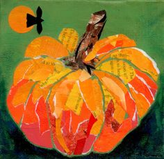 """from The Studio of . . . Charleen Martin: Happy Thanksgiving! 6 x 6"""" Torn paper Collage on 1.5"""" Gallery wrap canvas"""
