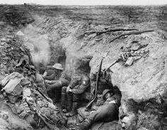 Welsh Guards rest in a reserve trench during the Battle of Guillemont