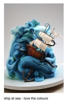 pirate party !!great cake ocean sea wave ship