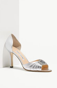 PERFECT wedding shoes (JEN!)  Manolo Blahnik 'Sedaraby' Open Toe d'Orsay Pump available at Nordstrom