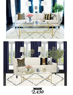An eclectic glam living room featured by @mydomaine and recreated by @audreycdyer for Copy Cat Chic for $2430 #roomredo