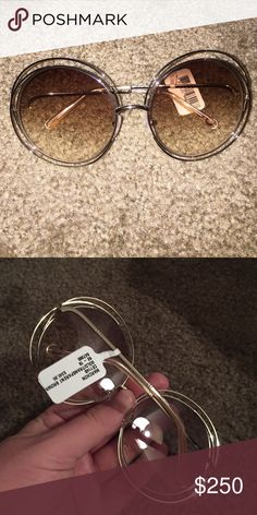 fc06c021740 Chloe Carlina 62mm round wire peach sunglasses Brand new and hot style from  Chloe. These