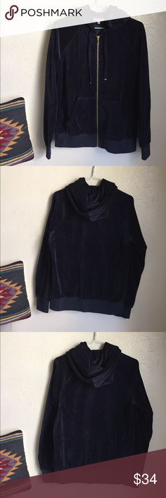 Juicy Couture hoodie Navy blue Juicy Couture velour hoodie. Like new condition. Size small. Juicy Couture Jackets & Coats