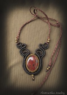 Macrame necklace with red jaspe. Macrame by AbstractikaCrafts, £32.00