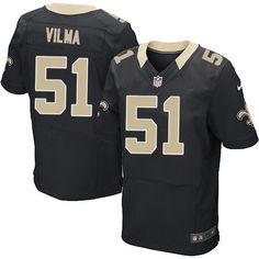 Elite Men's Nike New Orleans Saints #51 Jonathan Vilma Team Color Black NFL Jersey $129.99