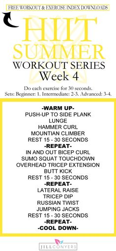High 5! You've made it to week 4 of the HIIT SUMMER Workout Series. Be prepared for success – download the strength and cardio workouts, fitness tracker and exercise index. Target every part of your body, shape and tone your muscles and burn calories in about 30 minutes. Weeks 1, 2 and 3 are still available for download. Pin it and workout later. Download everything you need for your workout week at http://jillconyers.com. @jillconyers