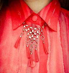 Thrifted Red Fringe Necklace: iPhone post! | www.ThriftTrick.com