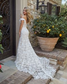 Style 2446 Evelyn | Off Shoulder Fit and Flare Wedding Dress by Casablanca Bridal Ballroom Wedding Dresses, Wedding Frocks, Wedding Dress Styles, Boho Wedding Dress, Wedding Party Dresses, Mermaid Wedding, Modest Wedding, Minimalist Wedding Dresses, Wedding Dress Pictures