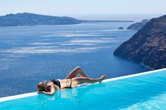Santorini - lying on the edge with an awesome view
