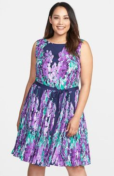 Adrianna Papell Placed Floral Print Fit & Flare Dress (Plus Size) available at #Nordstrom