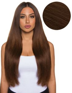 """Rich and indulgent, the Bellissima 22"""", 220g Chocolate Brown has subtle red and golden undertones. these Bellami Hair clip in extensions instantly transform your hair and allow you to feel confident w"""
