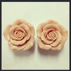 Apricot Rose Acrylic Ear Plugs by TeacupRose on Etsy, $30.00