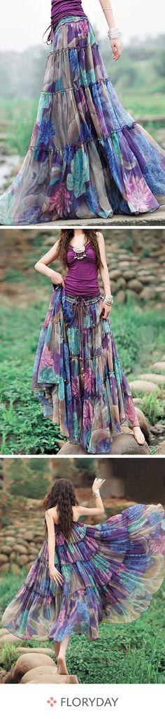 Mittellange, elegante Röcke mit Blumenmuster Dance into the summer with this beautiful skirt. Fashion Mode, Modest Fashion, Mode Orange, Boho Fashion Winter, Smock Dress, Medium Long, Boho Dress, Elegant Dresses, Boho Chic