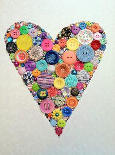 Heart Art Button & Swarovski Rhinestones Button by BellePapiers, $104.00
