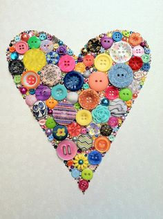 Heart Art Button & Swarovski Rhinestones Button Heart Button Art